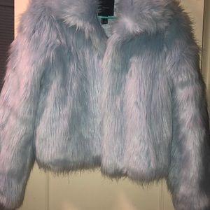 Jackets & Blazers - Baby blue fur coat